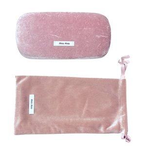 Miu Miu pink velvet glasses case and dust bag